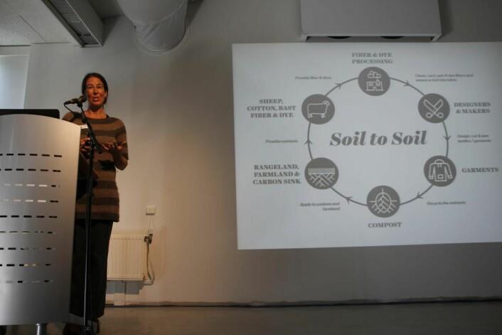 Rebecca Burgess fra Fibershed forklarer 'soil to soil' prinsippet som fanger CO2 og gir en 'klima-positiv' lue.