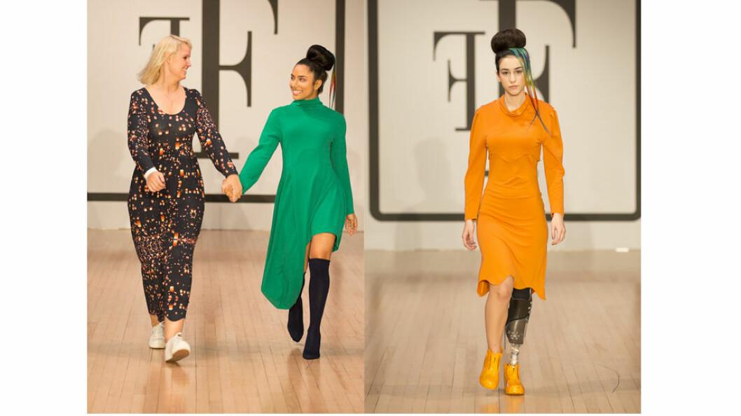 Pernille Fristad og Michelle Khare på catwalken. Til høyre: Den spanske modellen Chiara Bordi. (Foto: Joanna Mitroi)