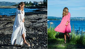 Mette med egenproduserte kjoler og sko