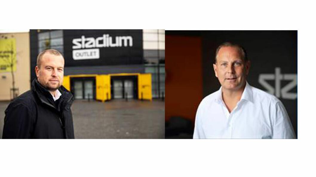 Karl Eklöf og Daniel Löfkvist  gleder seg til åpningen av norske Stadium Outlet-butikker.