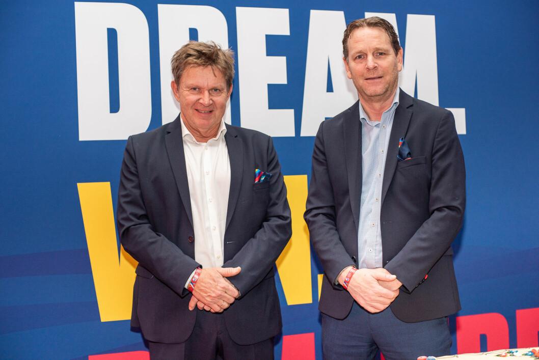 Håndballpresident Kåre Geir Lio og generalsekretær Erik Langerud. Foto: Robert Magnussen