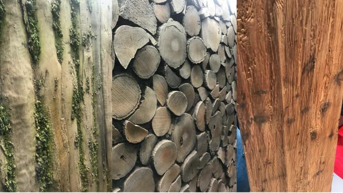 Mange muligheter med treverk med mose, endeved og grov trestruktur. (Foto: Bård Løkenhagen)