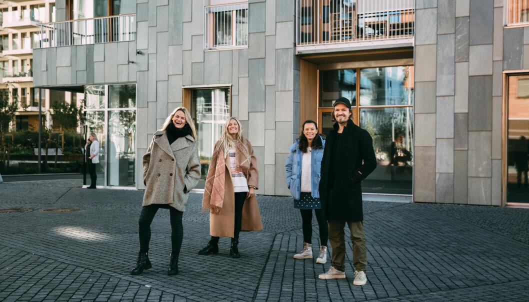Andreas , Susanne og Maria Skappel Holzweiler i Oslobukta sammen med Caroline Krefting