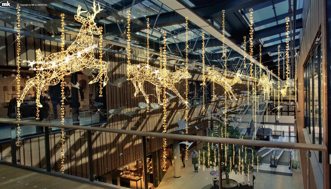 Design og utforming er noe som ikke har blitt gjort før i Norge – fem store dyr som lysskulpturer som hopper gjennom glassgaten på senteret. MK Illumination