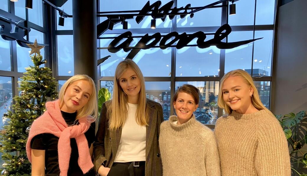 De ansatte i Capone og Mrs. Capone. Fra venstre Elisa Vagle, butikksjef Jeanette Rege, ass. butikksjef Isabel Kvarme Larsen og Camilla Risøy Hegrestad.