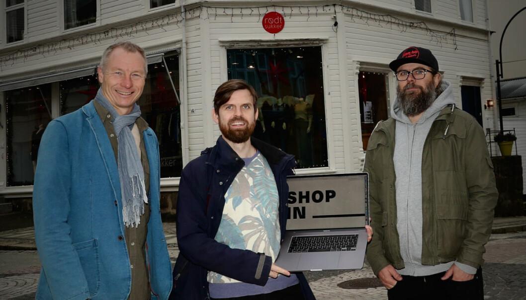 Shopin-gründerne har utviklet et konsept som samler alle lokale butikker i en digital handlegate. F.v.: Sveinung W. Jensen, Martin Morfjord og Roger Henriksen.