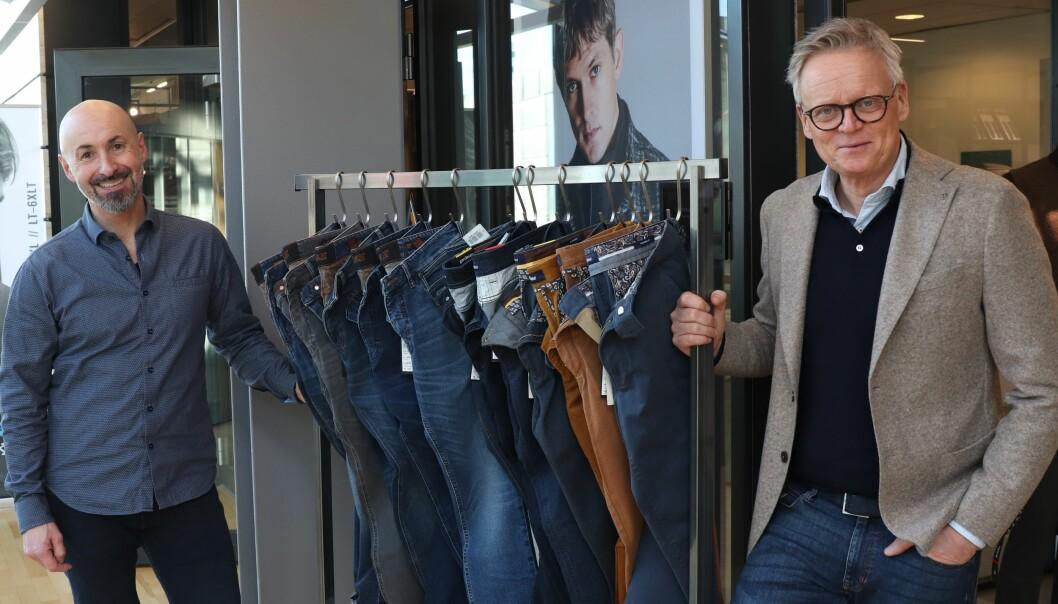 Sindre Hofmo og Morten Engeflaen samarbeider om markedsføringen av Gardeur herrebukser
