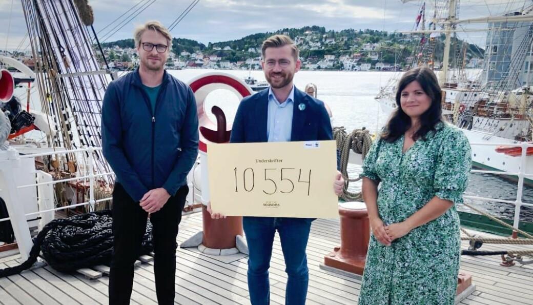 CEO i Bergans, Jan Tore Jensen og generalsekretær i WWF, Karoline Andanaur, kom med tydelige klimakrav til klima- og miljøminister Sveinung Rotevatn