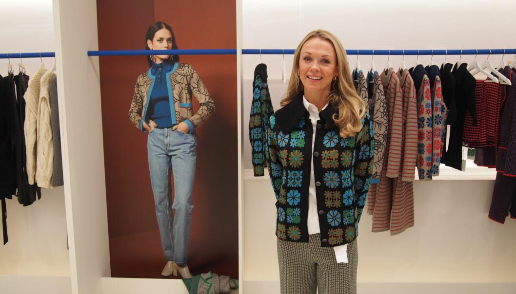 Gerda Sørhus Fuglerud fra Oleana i en jakke som virkelig representerer godt samarbeid mellom norske bedrifter.