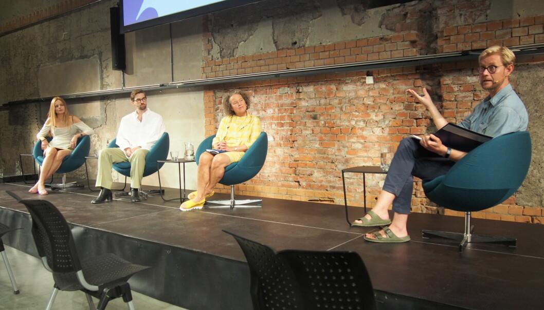 Under den siste paneldebatten, ble pris et hett tema. Fra venstre Sorgenfris Ingrid Bredholt, butikksjef hos Livid Ole Eivind Siggerud, forfatter og professor ved SIFO Ingun Grimstad Klepp, og Gisle Mariani Mardal i NF&TA.